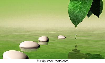 pierres, bleu, feuille, goutte, zen, eau, vert