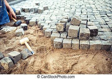 pierres, blocs, trottoir, pavé, terrasse, construction, pavage, détails