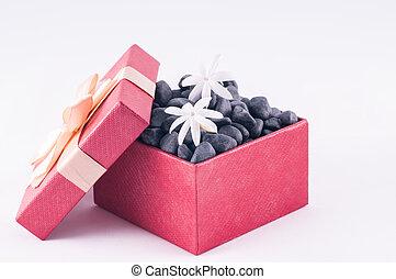pierres, boîte, jasmin, zen, noir, fleurs blanches