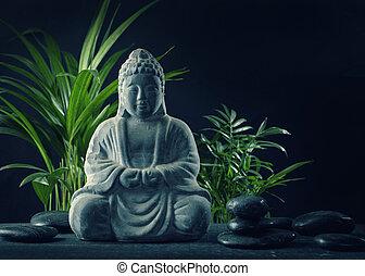 pierres, bouddha, statue