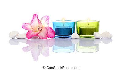 pierres, bougies, rivière, gladiola, blanc