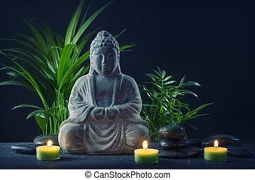 pierres, bougies, statue, bouddha
