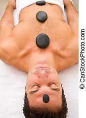 pierres, chaud, homme, masage, obtenir