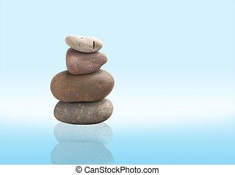 pierres, clair, équilibre, zen, fond