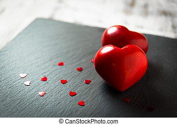 pierres, coeur, deux, rouges