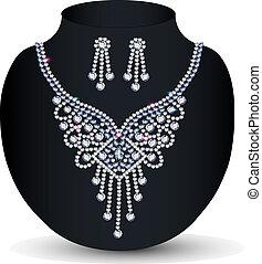 pierres, collier, précieux, elle, mariage