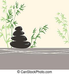 pierres, concept, feuilles, zen, basalte, stylisé, vert, spa, bambou