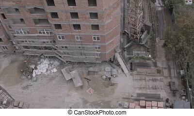 pierres, construction bâtiments, sous, grue, ascenseurs