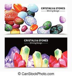pierres, cristal, bannières, rochers