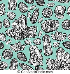pierres, cristal, seamless, modèle