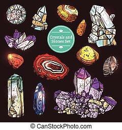 pierres, cristaux, ensemble, icônes