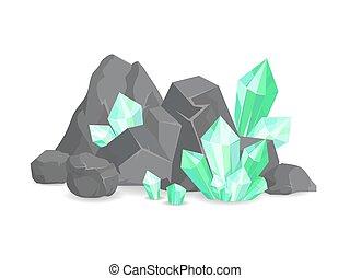 pierres, cristaux, ressources naturelles, rochers