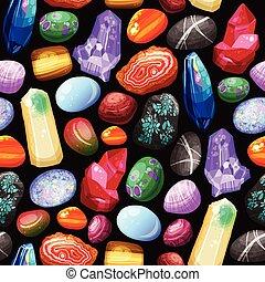 pierres, cristaux, rochers, seamless, modèle