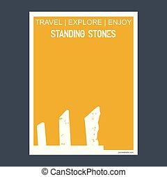 pierres debout, style, angleterre, wiltshire, typographie, plat, repère, vecteur, monument, brochure