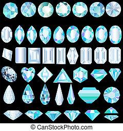 pierres, différent, coupure, lumière, ensemble, précieux