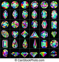 pierres, différent, ensemble, artificiel, coupures, précieux