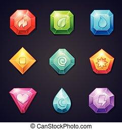 pierres, différent, ensemble, coloré, usage, élément, jeu, signes, dessin animé