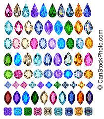 pierres, différent, ensemble, couleurs, coupures, précieux