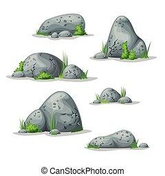 pierres, différent, ensemble
