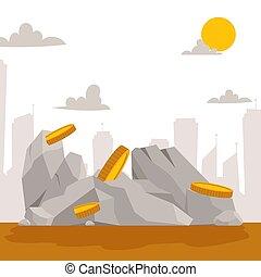 pierres, doré, style, ensemble, naturel, bâtiment, banner., pièces, isométrique, material., différent, rochers, forme, vecteur, plat, galets, illustration., lourd, color., dessin animé, 3d