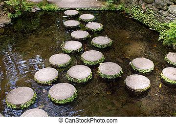 pierres, eau, par, jardin, marcher