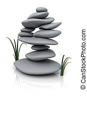 pierres, empilé