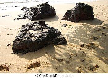 pierres, empreinte, plage, rocheux