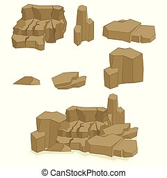 pierres, ensemble, dessin animé