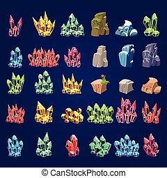 pierres, ensemble, dessin animé, minéral