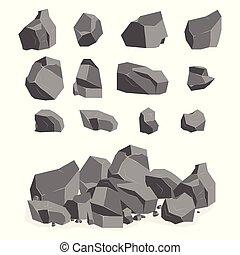 pierres, ensemble, dessin animé, rochers