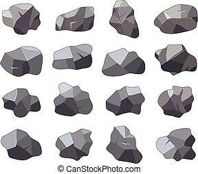 pierres, ensemble, dessin animé, vecteur, rocher