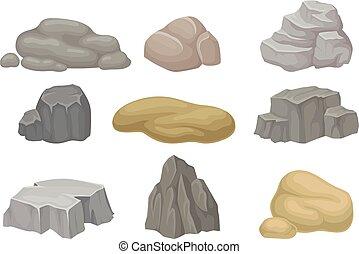 pierres, ensemble, illustration, arrière-plan., vecteur, rocks., blanc