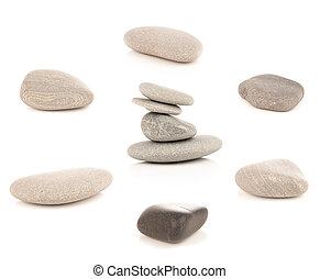 pierres, ensemble, isolé, galets, fond, caillou, blanc