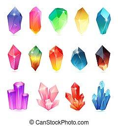 pierres, ensemble, magie, minéral, coloré, assorti, semiprecious, collection., set., bijou, cristaux, quartz, cristallisation, gemstone., naturel, cristallin, ou, pierreux