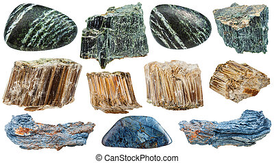 pierres, ensemble, minéral, amiante, isolé, divers