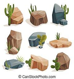 pierres, ensemble, nature, ensemble, herbe, rochers, vecteur, paysage vert, illustrations, conception, cactus, éléments