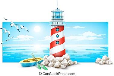 pierres, eps10, mer, vue., bateau, phare, island., panorama, voler, isolé, paysage, blanc, sun., fond, marin, birds., nuages, illustration., sky., océan, horizon, vecteur, coucher soleil, mouette