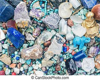 pierres, et, minéraux, à, les, fuir, stalle marché