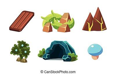 pierres, fantastique, éléments, caverne, mobile, game., vecteur, bois, ensemble, vidéo, usines, planche, dessin animé, paysage