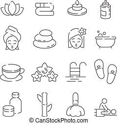 pierres, femme relâche, wellness, set., sauna, symboles, masage, vecteur, thérapie, mince, bougies, spa, fleurs, piscine, icône