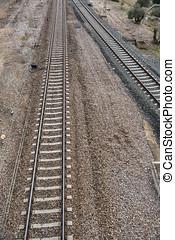 pierres, fer, sur,  rail,  détail, sombre, rouillé,  train, manière, ferroviaire