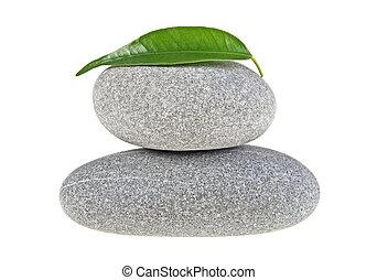 pierres, feuille, isolé, fond, spa, blanc