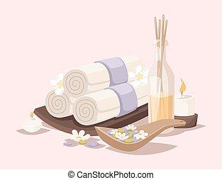 pierres, fleur, illustration., beauté, icônes, lotus, wellness, spa-massage, arôme, vecteur, traitement, serviettes, herbier, spa, procédures, produits de beauté