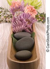 pierres, fleur, masage