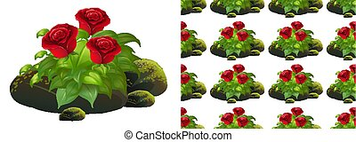 pierres, fond, rose, seamless, conception, mousse, rouges