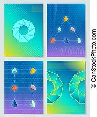 pierres, formes, vecteur, collection, illustration