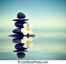pierres, frangipanier, zen