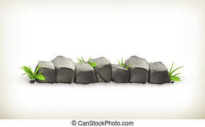 pierres, herbe, vecteur