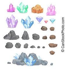 pierres, illustrations, ensemble, naturel, cristaux