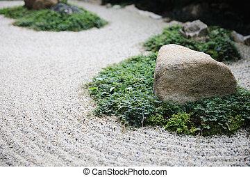 pierres, jardin, espace, zen, japonaise, fond